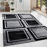Moderner Design Geometrie gesäumt Guenstige Teppich Kurzflor Schwarz Grau meliert 5 Groessen Wohnzimmer Gästezimmer, Flur, Schlafzimmerm, Kueche, Läufer, Größe:200x290 cm