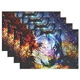 ALAZA Lobo Espacial Galaxy manteles para Mesa de Comedor Conjunto de 4 a Prueba de Calor...