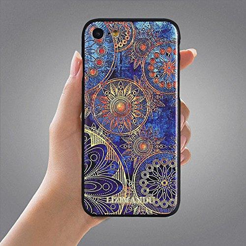 iPhone 8 Coque,iPhone 7 Coque,Lizimandu 3D Motif Tpu Silicone Gel Étui Housse Protection Shell Cover Case Pour iPhone7/8(Fleur Bleue/Blue Flower) Fleur Bleue/Blue Flower