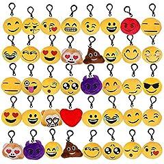 Idea Regalo - Tomkity 40 Piccoli Portachiavi Emoticon con 24 Fogli Emoji Adesivo Regalo Natale Pensierino Compleanno Bomboniera Festa Bambini Adulti