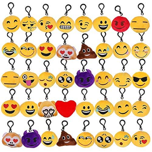 Tomkity 40 piccoli portachiavi emoticon regalo natale pensierino compleanno bomboniera festa bambini adulti