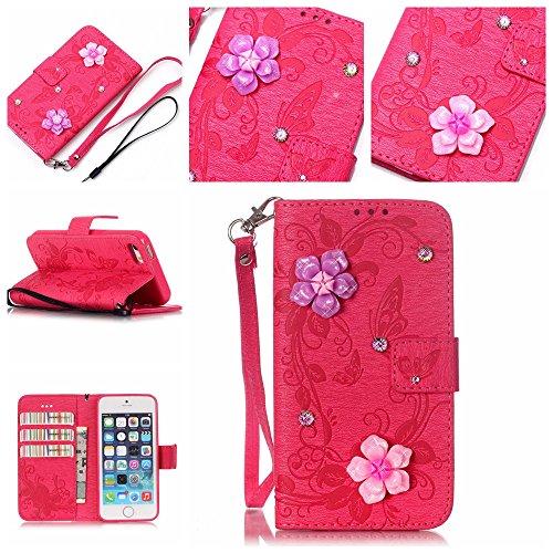 SE / 5 / 5S Hülle,SE / 5 / 5S Case,Cozy Hut ® Ultra Slim Flip Lederhülle / Ledertasche / Hülle / Case / Cover / Etui / Tasche für iPhone SE / 5 / 5S / 3D Diamant Strass Bling Glitzer Schmetterlings-Bl Rose Red Butterfly flowers