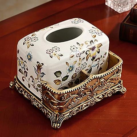 Pingofm Continental Paper Box Réplique mâts papier accessible Laser Table basse de salon avec télécommande Admettre Laser Home Decor et ornements Boîtes de papier de soie