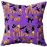 Not applicable Fodere per Federa da tiro quadrate, Motivo a Parola Zucca di Halloween Ghost Spider Cat Hat Broom Sofa Pillow Case, Verde Nero