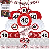 Partybox 40 Geburtstag 58-teilig Deko Verkehrsschild Partypaket