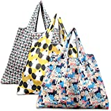 Reusable Shopping Bags - Eco-Friendly Foldable Grocery Bags for Shopping Organizing, 3 Pack (Dog, Cat, Owl)