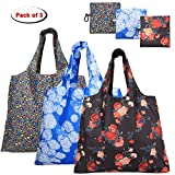 Yarwo Reusable Grocery Shopping Tote Bags, 3-pack Foldable Shopping Bags with Attached Pocket and Carabiner Snap Hook