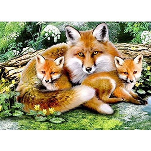 New 5D DIY Handmade Round Diamond Embroidery Painting Rhinestone Cross-Stitching Set Mosaic Home Room Decoration Best Gift Fox Family