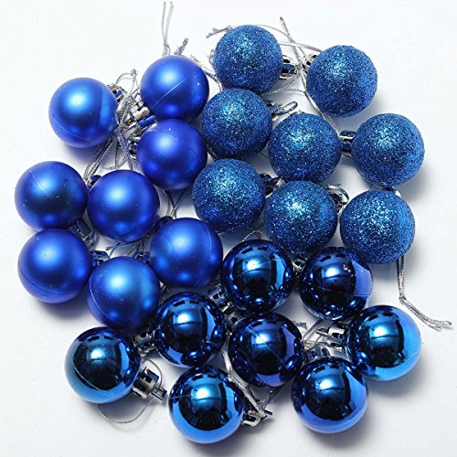 TOOGOO(R) 24Pcs Boules XMAS brillantes simples Chic Bleu de l'ornment de l'arbe Noel