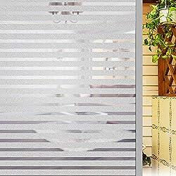 elfisheu Vinilo para Ventana de Privacidad Pegatina Translúcida Adhesiva Decorativa para Todo Tipo de Superficie Lisa de Vidrio Cristal Ventana Baño Cocina Oficina 45Cmx200Cm(Raya)