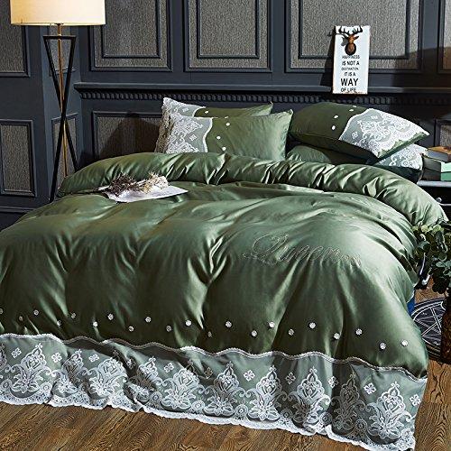 Vier stück,Europäische Gewaschen Tencel 4pc, Prinzessin-Stil Volltonfarbe Gelten Bettwäsche Sommer und Herbst Ice Seide Nackt Schlafen Betten-C Queen2 (Seide-bett-abdeckung)