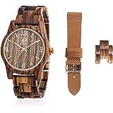Orologio in Legno, Completo regalo per uomo e donna, cassa in legno zebrato + Braccialetto in legno modificabile + Cinturino