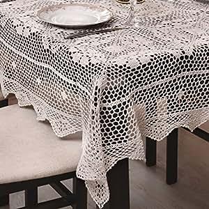 110x110 cm Kreis creme Häkeltischdecke Tischdecke mit feinstem Häkel-Muster wunderbar elegant 100% Baumwolle Landhaus modern folk Denis