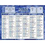Calendrier semestriel mural année 2020-21 x 26,5 cm...