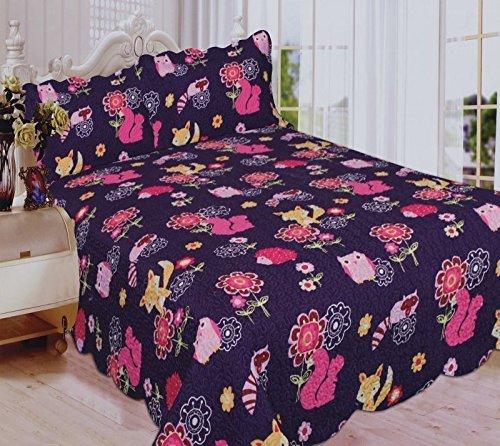 Linen Plus Tagesdecke, gesteppt, Eulenmotiv, Violett/Rosa Full Quilt