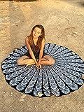 """UrbanCharm-& Bianco Nero indiano con piume di pavone, Mandala, rotondo, da hippie Roundie-Copriletto """"Gypsy-Tovaglia in cotone, stile Boho-Asciugamano da spiaggia"""