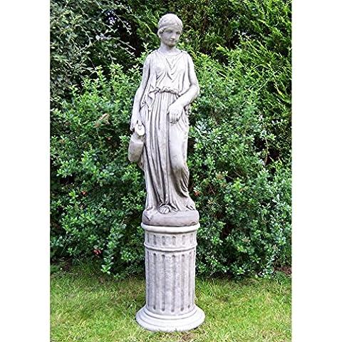 Caraffa grande ragazza giardino statua ornamentale da giardino in pietra su colonna–