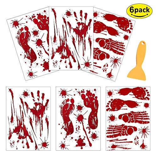 Halloween-Dekoration, Horror-blutige Handabdrücke & Fußabdrücke, Blutflecken, Fensterboden, Aufkleber, 8 Bögen, Halloween, Vampir, Zombie-Party-Dekorationen, Aufkleber mit einem Kunststoff-Schaber rot - Flair Slip