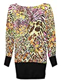 Islander Fashions Womens Printed Batwing Langarm Baggy Tops Damen Plus Size Stretchy Hemden Neon Animal Print EU 42