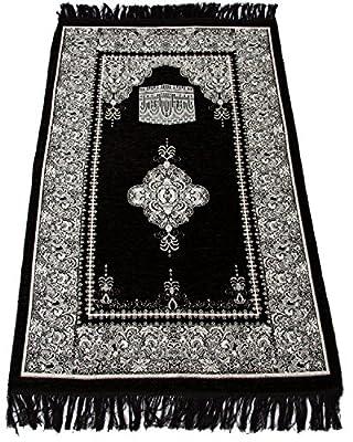 Muslim Prayer Rug - Islamic Janamaz Sajadah Namaz Sajjadah Turkish Prayer Mat Carpet (Black) - low-cost UK light store.