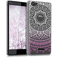 kwmobile Funda para Wiko Fever 4G - Case plástico para móvil - Cover trasero Diseño Sol hindú en violeta blanco transparente