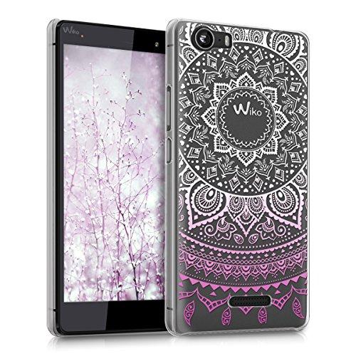 kwmobile Wiko Fever 4G Hülle - Handyhülle für Wiko Fever 4G - Handy Case in Violett Weiß Transparent