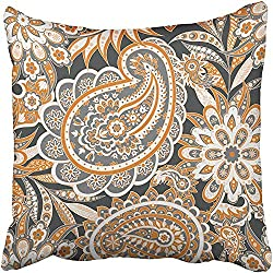 CHSUNHEY Fodera per Cuscino Decorativo Batik Paisley Floral Pattern Indian Vintage Cucumber Flower Graphic Leaf Modern Pillowcase Case 18x18 inch,Eco-Friendly Print