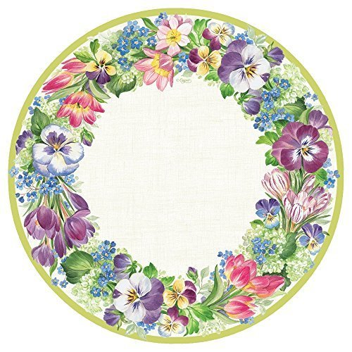 Entertaining with Caspari Spring Garland Dinner Plates, Multicolor, 8-Pack by Caspari