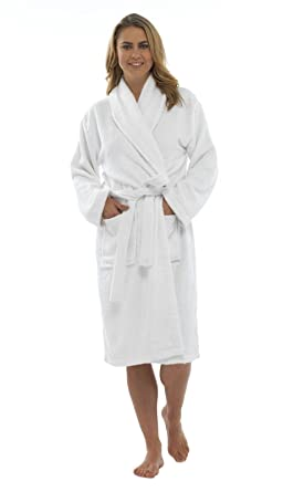 Ladies Pure 100% Cotton Luxury Towelling Bath Robes Dressing Gowns ...