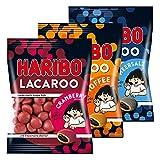 Haribo Lacaroo 3er Set, Cranberry, Meersalz, Toffee, mit Lakritzkern, Gummibärchen, Weingummi, Fruchtgummi, im Beutel