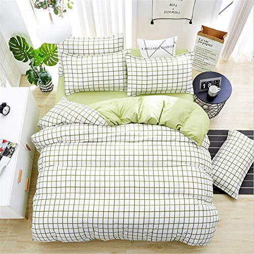 SHJIA Einfache geometrische Muster Bettwäsche grau Bettdecke König Tröster Set Bettbezug Bettwäsche grün 220x240cm