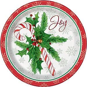Unique Party 49815, Platos de papel de 21.9 cm para fiesta de Navidad, Diseño de Papá Noel, Multicolor, Pack de 8