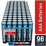 ANSMANN Batterien AAA 96 Stück - Alkaline Micro Batterie ideal für Lichterkette, LED Taschenlampe, Spielzeug, Fernbedienung, Wetterstation, Radio, Nachtlicht, Uhr - umweltschonende Verpackung