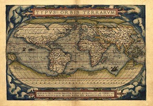 OFA Mapping Poster 'Antike Weltkarte', Reproduktion, von Abraham Ortelius, Größe: A1, 78 x 56cm