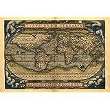 Reproduction de carte Antique du monde Par Abraham Ortelius Taille A1 78 x 56 cm