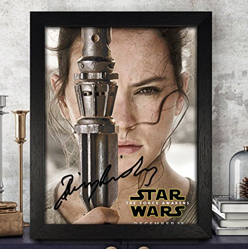 Daisy Ridley Autogramm Foto 8 x 10 Nachdruck RP PP – Star Wars: The Force weckt, holz, Framed