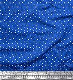 Soimoi Blau Viskose Chiffon Stoff Streifen und Blätter