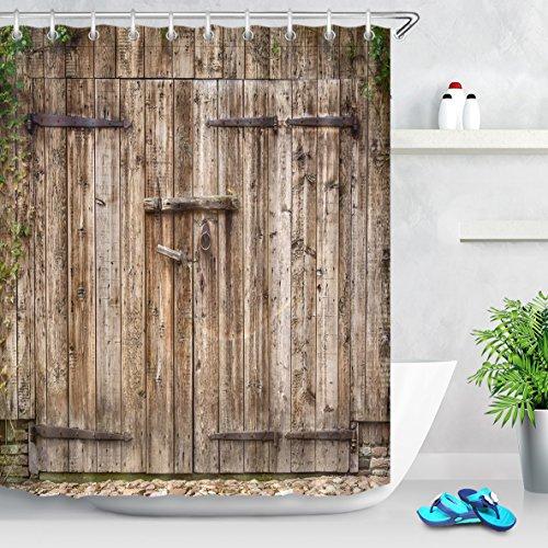 LB Personalizar Estilo vintage de puerta de madera de la vendimia Cortina de la ducha,Impermeable Resistente al moho Tejido de poliéster Cortinas de baño para baño, 180X180cm, 12 anillos