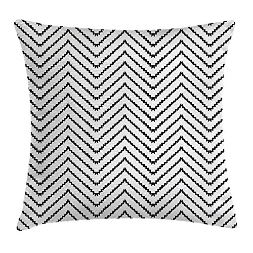 fjfjfdjk Geometric Triangle Zig Zag Triggering Lines Minimalist Pattern DecorModern Decor Throw Pillow Cushion Cover Decorative Square Accent Pillow Case 18 X 18 inches Black and White Line-palm Protector