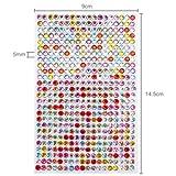 468 Strasssteine selbstklebend Glitzersteine zum Aufkleben rund Glitzer Aufkleber 5mm groß Kristalle Dekosteine Bastelsteine in bunter Mischung mehrfarbig