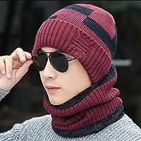 sheng Chapeau hommes plus épais en tricot chapeau casquettes d'extérieur et chapeau d'hiver chaud noir