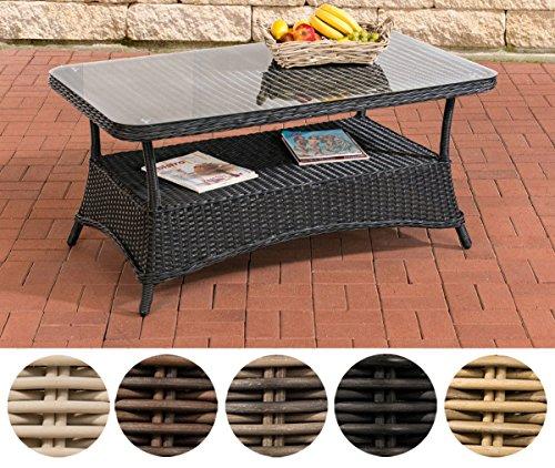 CLP Design Outdoor Lounge-Tisch Pandora, Höhe 60 cm, Glas Tischplatte, 5 mm Rattan Geflecht, ALU...