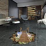CXQWAN Kreativ Baumelnd 3D-Zugbrücke Schlafzimmer Wohnzimmer Boden-Aufkleber Dekorative Wandaufkleber Abnehmbar Selbstklebende Aufkleber