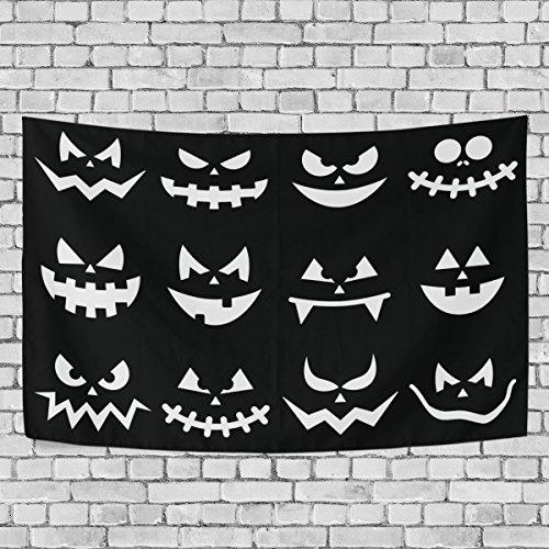 COOSUN Scary Halloween Kürbis-Gesichter auf schwarzem Hintergrund Tapisserie Wandbehang Wandteppiche Heim Decorarion für Wohnzimmer Schlafzimmer Dorm Dekor, 60