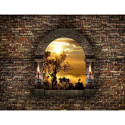 Fototapeten Fenster Natur 352 x 250 cm Vlies Wand Tapete Wohnzimmer Schlafzimmer Büro Flur Dekoration Wandbilder XXL Moderne Wanddeko - Ziegelwand Ziegelstein Steinwand Runa Tapeten 9025011a