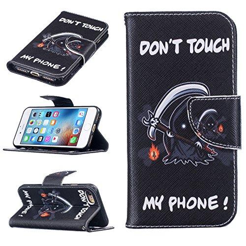 """MOONCASE iPhone 7 Coque, [Black Fleur] Modèle Housse Pochette en Cuir Etui à rabat portefeuille [Porte-cartes] TPU Case avec Béquille pour Apple iPhone 7 4.7"""" Grim Reaper"""