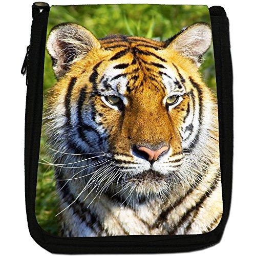 Wild tigre Medium Nero Borsa In Tela, taglia M Close Up Of A Tiger Face