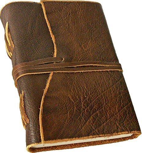 'BORDEAUX' Notizbuch / Leder-Tagebuch, Lederbuch, Ledereinband - handgeschöpftes Papier - braun im...