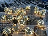 20er LED Lichterkette Marokkanische Kugel Silber mit warmweiß Batteriebetrieben Beleuchtung Dekoration für innen Hochzeits Weihnachten Geburtstag Inneneinrichtung