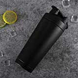 Protein-Shaker-Flasche mit Mixer, Dual-Layer-304 Edelstahl, 739ml/26oz, 7 Farben, BPA-frei, Lebensmittelqualität PP, mit Scale Inside - Whey Protein Shaker (Schwarz)